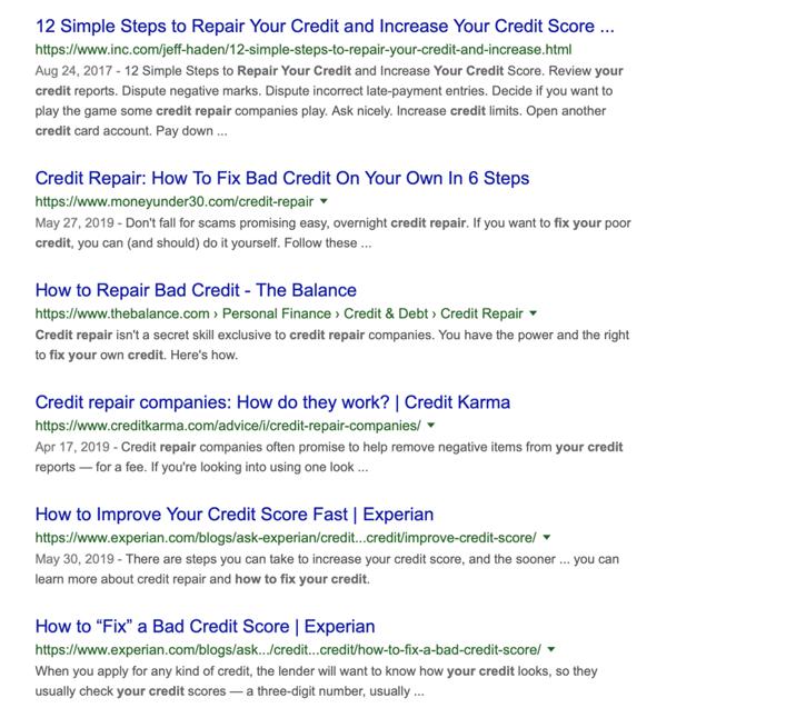 repair your credit SERP